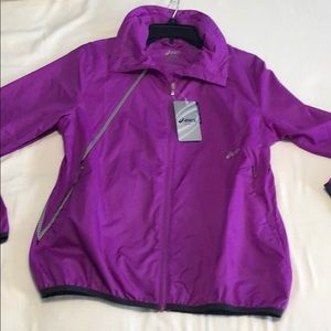 NWT ASICS SPRY light jacket purple semi fitted New